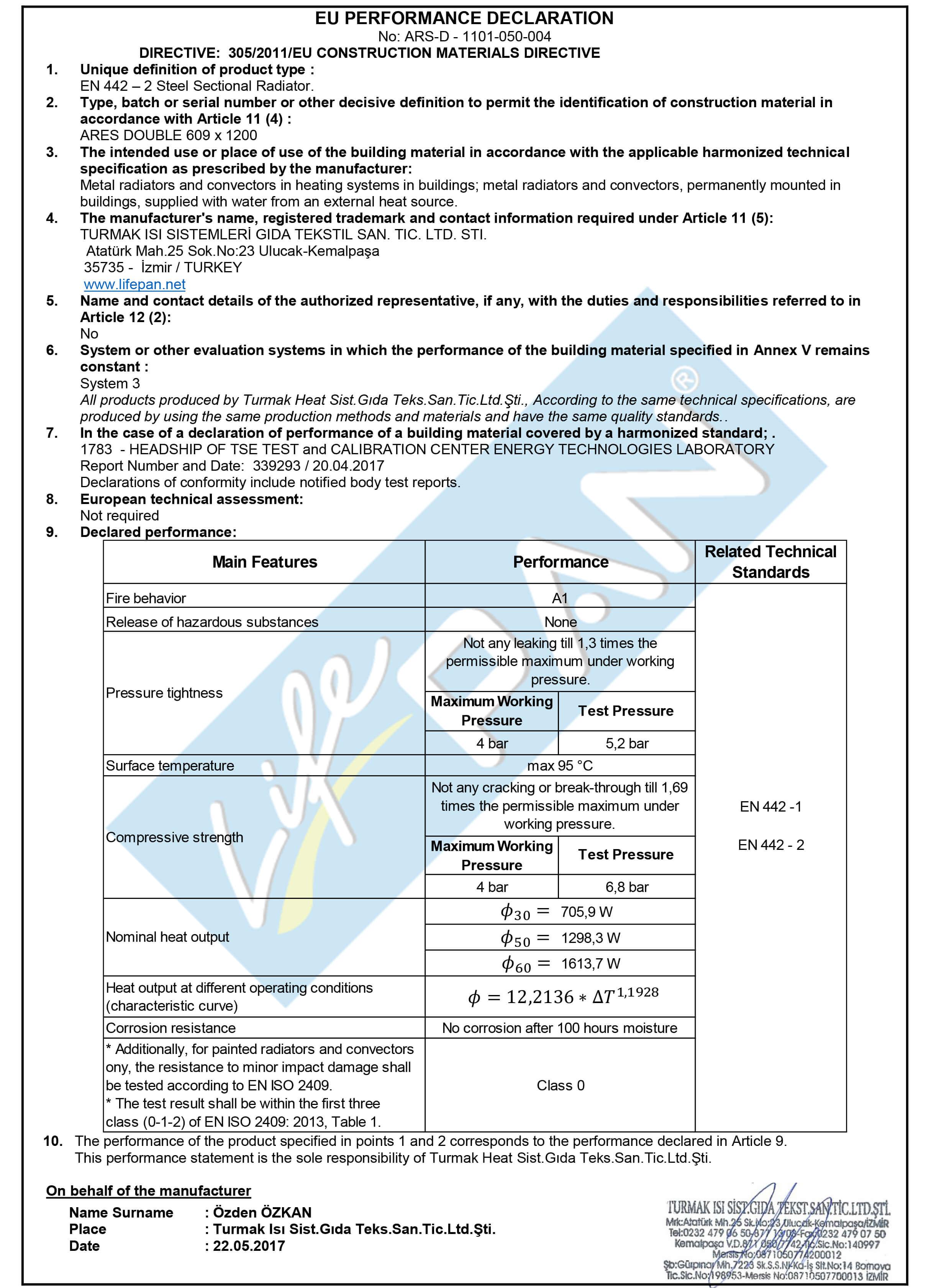 ARES VERTICAL DOUBLE 609x1200 EU PERFORMANCE DECLARATION