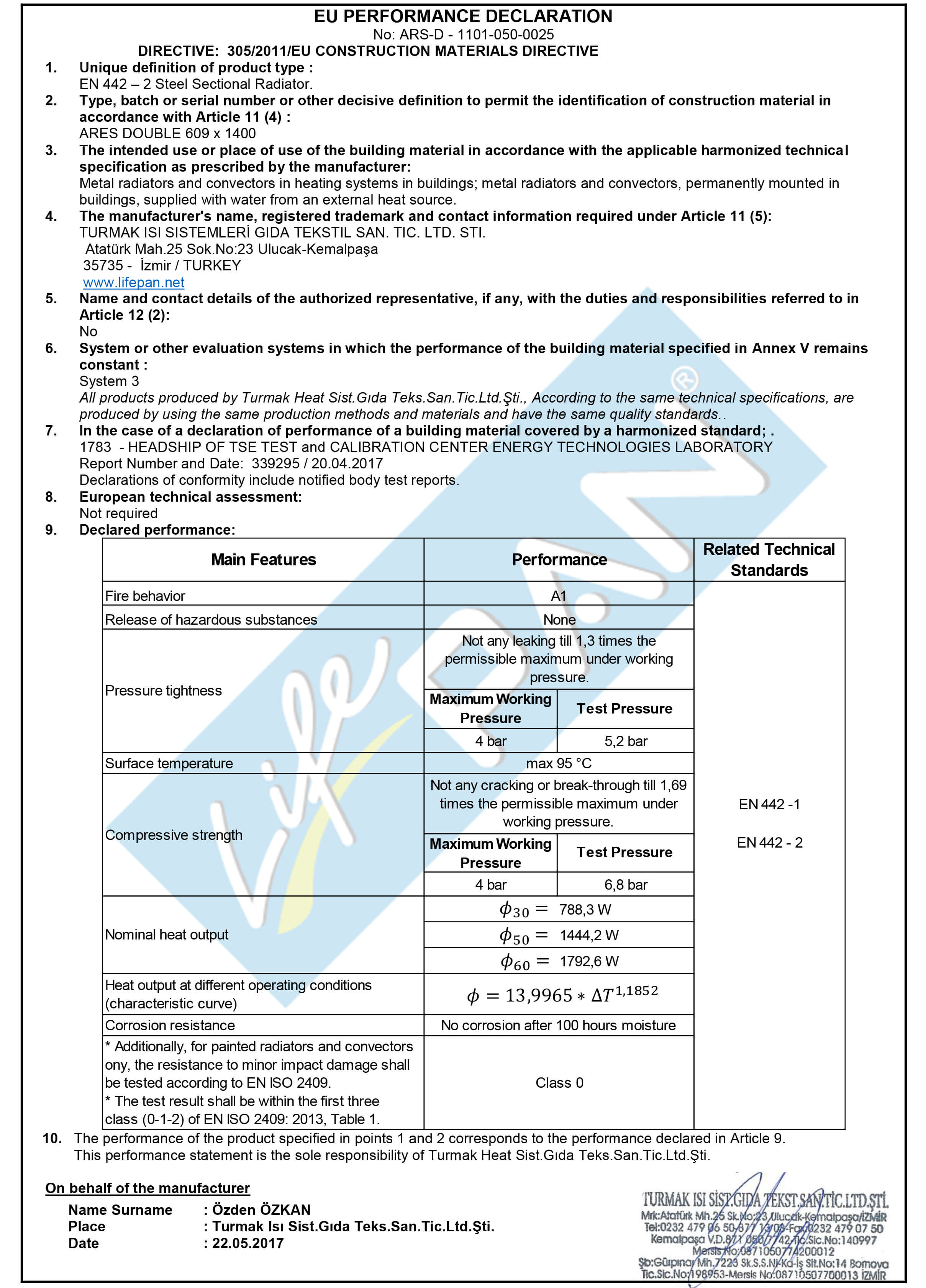 ARES VERTICAL DOUBLE 609x1400 EU PERFORMANCE DECLARATION