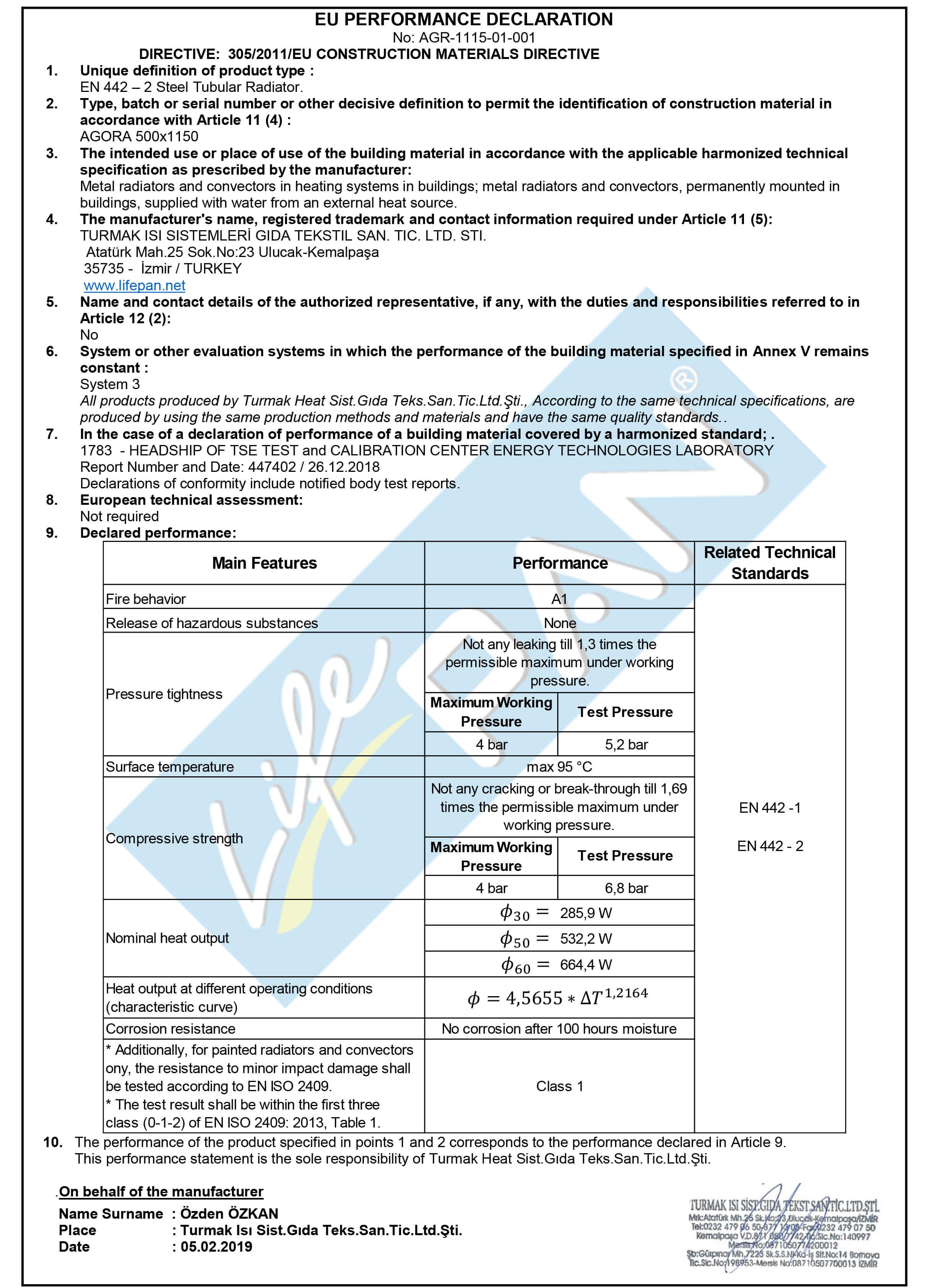 AGORA - 500x1150 EU PERFORMANCE DECLARATION